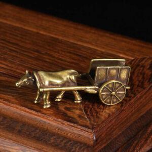 Mini Brass Figurine Of Ox Statue Cow Cart Accessories Pendant Statue DecJ0J^qi