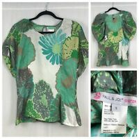 PAUL & JOE SISTER Womens Floral Print Blouse 100% Silk Size 3