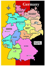 GERMANY MAP - SOUVENIR NOVELTY FRIDGE MAGNET - FLAGS / SIGHTS - NEW - GIFTS