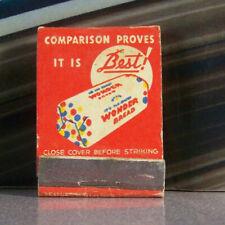 Vintage Matchbook U3 Wonder Bread Happy Bakers Feature Comparison Proves Best