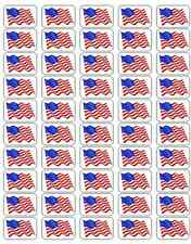 """50 American Flag Envelope Seals / Labels / Stickers, 1"""" by 1.5"""""""