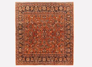 10 x 10 Hand Knotted Wool Rust Antique Square Sarouk Oriental Area Rug Carpet