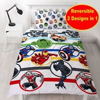 MARVEL AVENGERS SINGLE DUVET QUILT COVER SET BOYS IRON MAN BLACK PANTHER THOR