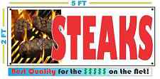 Full Color STEAKS BANNER Sign Larger Size Delivery Flag Restaurant Box Cart