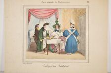 Carte vivante restaurateur, Caricature Granville gastronomie moeurs repro litho