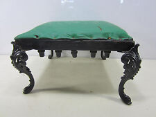 Antique Home Made Wooden Foot Stool w/Cast Iron Legs