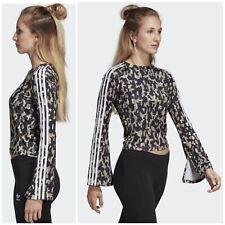 NWT adidas Originals Womens Size S Leoflauge Slit Sleeve Cropped Top $70