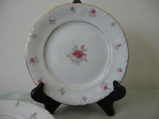 7 Royal Court Japan Du Barry Butter Plates Pink Roses White Fine China GOLD Trim