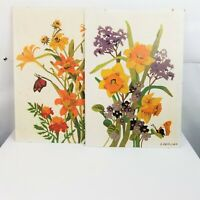 PBN Set of 2 Paint by Number Flowers Butterflies Wildflower Daffodil Lily Yellow