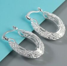 New Sterling Silver Thick Hoop Earrings