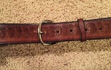 Vintage Handmade Leather Belt Sz Small Brown Stamped Shell
