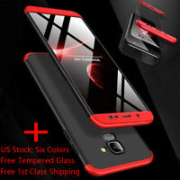 For Samsung Galaxy J4/J6 Plus A6 J8 2018 360 Shockproof Slim Case+Tempered Glass