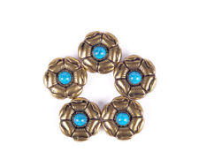 10PC 26X26MM Copper Flower Green Turquoise Bag Leathercraft Screwback Conchos
