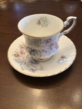 Queens/Rosina Fine Bone China Teacup & Saucer gray green leaves & pink flowers