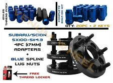 """5X100 TO 5X114.3mm (5X4.5"""") 17MM HUBCENTRIC WHEEL SPACERS+ 12X1.25 BLUE LUG NUTS"""