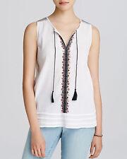 SANCTUARY Embroidered Sleeveless V Neck Beaded Boho Blouse Top White Shell L $78