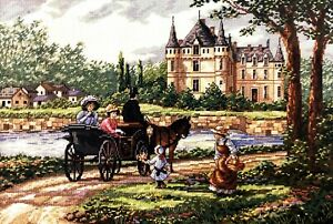 """DIMENSIONS Gold Collection """"M'Lady's Chateau"""" Vintage Counted Cross Stitch Kit"""