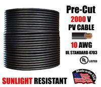10 AWG Gauge PV Wire 1000/2000 Volt Pre-Cut 15-500 Ft Solar Installation BLACK