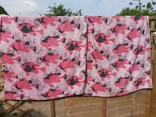 More details for vintage curtains toweling 1950s /1960s pair pink fish design marked faded
