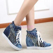 Ladies Denim Jean HIgh Top Sneakers Trainer Mid Hidden wedge Heel Boots Plimsoll