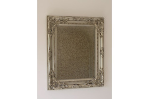 French Silver Shabby Vintage Antique Style Wall Mirror with Bevelled Glass