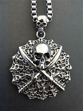 MENS GOTHIC EMO SILVER BOX CHAIN NECKLACE WITH LARGE SKULL AND SWORD WEB PENDANT