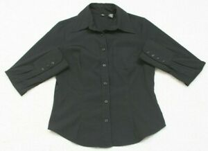 Dress Shirt Button Front Womans Mossimo Long Sleeve Top Medium Polyester Spandex