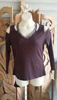 DEMOCRACY Cold Shoulder  Aubergine Top Henley Long Sleeve STRETCHY L/XL NWT$59