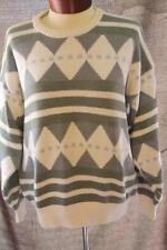 Vintage Claiborne Sweater Mens Geometric Design 80s Small White Gray Blue Preppy