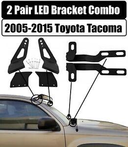 LED Bracket Combo for Light Bar & Engine Hood Lights for 2005-2015 Toyota Tacoma