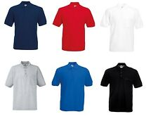 Fruit of the loom Men's Polo Shirt with Chest Pocket 65-35 Poly Cotton Polos New