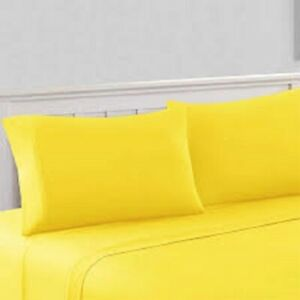 Queen Yellow Solid 4 Pieces Bed Sheet Set 1000 Thread Count 100% Egyption Cotton