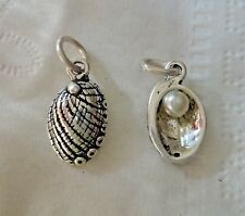 1 Sterling Silver 16x10mm Mother of Pearl Seashell Abalone Shell Charm w/ Pearl
