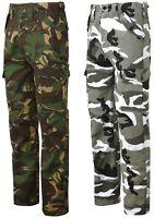 Uomo Pantaloni Stile Militare Cargo Camouflage Esercito Camo Nuovo