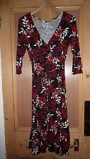 PRINCIPLES Wrap Dress UK 12 RED BLACK Leafy Modern Designer Chic FAB LTD RARE!!!