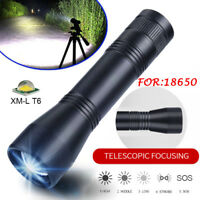 Mini 5-Mode Tactical 15000LM T6 LED Zoomable Flashlight Torch Lamp 18650 Light