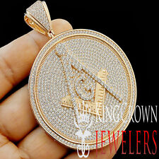 XL 3.25'' Round Medallion Free Mason Masonic G Compass Rose Gold Diamond Pendant