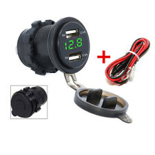 Waterproof 2.1A x2 USB Charger Green Digital Voltmeter Motorcycle Power Adapter