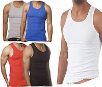 6 X MENS PLAIN SUMMER VESTS 100% Cotton TANK TOP PACK  Size S-6XL