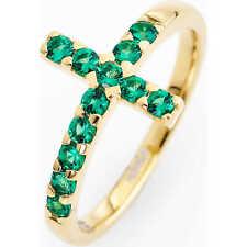 Anello Amen in argento dorato con croce in cristalli verdi ref. ACOGV-14
