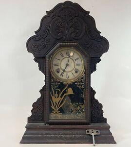 "Antique 1903 EN Welch Carved Wood Wind Mechanical 23"" Kitchen 8 Day Mantel Clock"