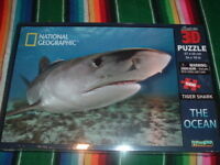 NATIONAL GEOGRAPHIC SUPER 3D PUZZLE-THE OCEAN-TIGER SHARK-500 PCS-STILL SEALED