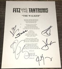 FITZ AND & THE TANTRUMS SIGNED AUTOGRAPH THE WALKER LYRIC SHEET ALL 6 w/PROOF