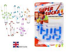 Super Sucka Construction Straws Kit Make Crazy Straw Mazes Red Blue Fun Drinking