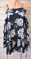 INDIKAH Tunic dress top Sz 8 small blue grey floral cold shoulder