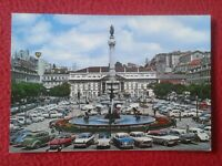 POSTAL PORTUGAL LISBOA LISBON O ROSSIO LE THE SQUARE EL COCHES VOITURES CARS VER