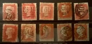 Great Britain 1854-1858 QV Collection of 1p Stars on Card Unchecked * Sound Lot