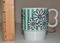 Vintage White and Green Ceramic Coffee Mug Cup Flowers Daisies Stripes Retro GUC