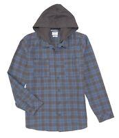 Hurley Men's SZ S Crowley Washed Hoodie Long Sleeve Shirt Blue Gray Plaid