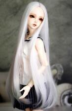 "1/4 7-8"" BJD Doll Pullip Wig Snow White Straight Buckle Curl Tips Hair Long AL-g"